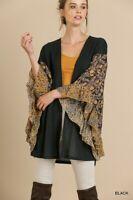 PLUS XL 1X 2X UMGEE BLACK Waffle Ruffle Floral Sleeves Wrap/Kimono/Jacket BHCS