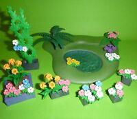 Playmobil - Bodenplatte mit Teich und Kübel, Beet, Blumen und Ranke aus 3965