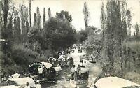 RPPC Mexico Postcard L478 Flat Berreteage Boats on Canal Restaurant Xochimilco