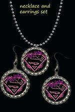 and necklace set great gift supergirl supermom mother pretty earrings earring