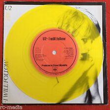 "U2 - I Will Follow - Irish Yellow Viny 7"" +Picture Sleeve on CBS Label (Record)"
