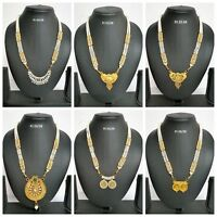 Indian Fashion Bridal Jewelry Gold Plated CZ Traditional Necklace Pendant Sets