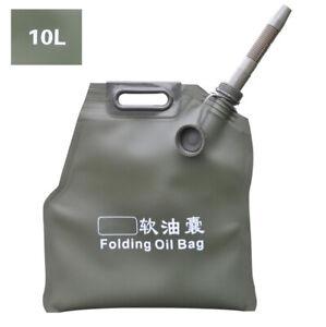 Portable 10L Oil Bag Spare Gas Fuel Tank Can Car Motorcycle ATV UTV Universal 1x