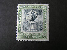 BARBADOS, SCOTT # 103, 1/2p. VALUE GREEN 1906 LORD NELSON CENTENARY ISSUE MH