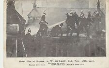 GREAT FIRE AT GAMAGES WITH FIREMEN AT SCENE, HOLBORN, LONDON : POSTCARD (1907)