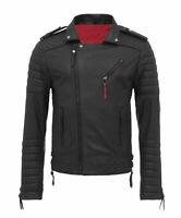 Mens Genuine Lambskin Black Leather Jacket Motorcycle New Slim Fit Biker Jacket