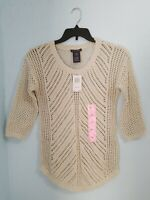 NWT $78 Chelsea & Theodore Women's Crochet Sweater Ivory Color 3/4 Sleeve.Size S