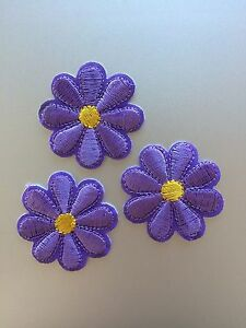 Purple Flowers Patches - Embroidered/Iron/Sew/Stitch/Glue On - Cute - Set of 3
