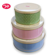 Tala Cake Tins, Set of Three, Retro Design, Blue, Pink & Green
