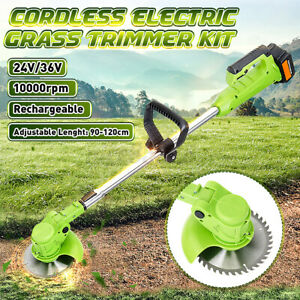 600W Electric Cordless Grass Trimmer Garden Heavy Duty Weed Lawn Strimmer Cutter