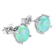 Opal Gemstone Solid Silver Stud Earrings Xmas Gift Light Green 8 Mm Fire