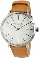 Michael Kors Mens Blake Quartz Silver Dial Brown Leather Men's Watch MK8673
