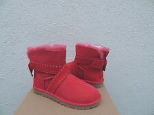 UGG CAMERON LIPSTICK RED GROMMET BAILEY BOW SHEEPSKIN BOOTS, US 11/ EUR 42 ~NIB