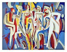 """Augusto Marín, art serigraph """"En familia"""", Limited Edition, Puerto Rico"""