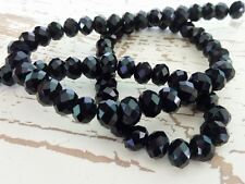 70 pce Black Faceted Crystal Cut Abacus Glass Beads 8mm x 6mm