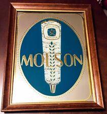 Vintage MOLSON GOLDEN Bar Mirror CANADIAN BEER Advertising Sign Wooden Frame