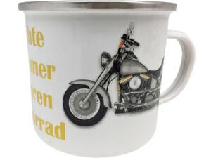 Echte Männer fahren Motorrad XXL Blechtasse Emaille Becher Tasse 9 x 9 cm 500 ml