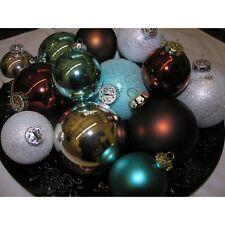 Bolas de Navidad Set Era Del Hielo 16 para Árbol Cristal Marrón Plata Turquesa