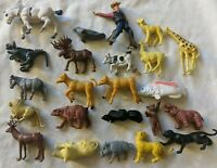 Vintage Plastic Farm Wild Jungle Zoo Forrest Animal Chinasaur and Figure Lot