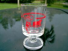 """THIS IS NO BUM STEER  STEMMED SHOT GLASS RED LOGO 3"""""""