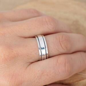 Mens Womens Plain 925 Sterling Silver Spinning Worry Band Ring 6mm thumb ring