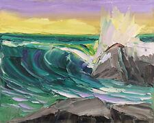 Pacific Rocks Four Original Expression Seascape Oil Painting 8x10 091418 KEN