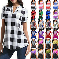 Plus Size Women Summer Tunic Tops T Shirt Short Sleeve Casual Loose Beach Blouse