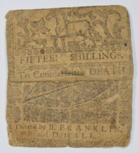 1758 Colonial Delaware 15 Shillings Note - Designed by Ben Franklin! *3279