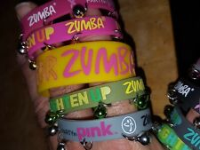 Wild Zumba rubber wristbands set B - 9 tl (8 w/ Bells, 1 Wide)  new unworn