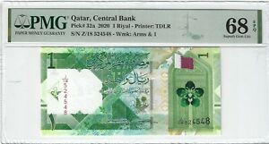 P-32a 2020 1 Riyal, Qatar Central Bank, PMG 68EPQ SUPERB GEM +!