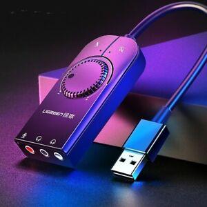 Sound Card USB Audio Interface External 3.5mm Microphone Adapter Laptop Headset