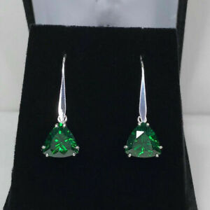 Womens 2Ct Trillion Cut Emerald Dangle Drop Earring 14k White Gold Finish Silver