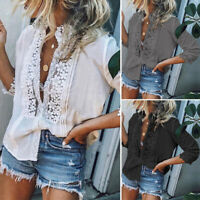UK 8-24 Women Summer 3/4 Sleeve Lace Floral T Shirt V Neck Hollow Blouse Top