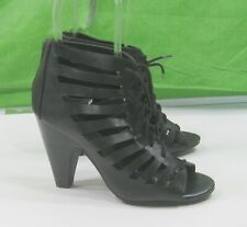 "new  ladies Black 4"" Block Heel Open Toe Lace Up Sexy Shoes Size 10"