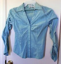 Charlotte Russ. Green long sleeve button up shirt size M