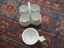 More details for an antique victorian set of 4 white egg cups & holder & a contemporary drainer.