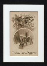 Christmas Joy and Happiness Gibson Art Co. Bells and People leaving a church 24
