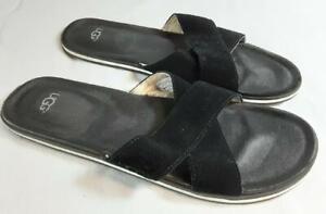 UGG Beach Slide Sandals. Black Suede Size UK11, EU 45.5