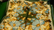 "Floral Scarf wrap kerchief acetate twill 26"" square Made in Japan S96"