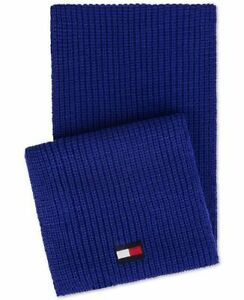 Tommy Hilfiger MEN'S Blue Solid Acrylic LOGO KNIT  Scarf