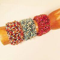 6PC Handmade Beaded Woven Button Fashion Bracelets WHOLESALE LOT 3 Colors