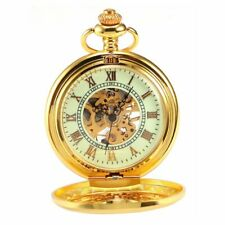 Classic Roman Gold Skeleton Mechanical Men's Pendant Pocket Watch With Chain FOB