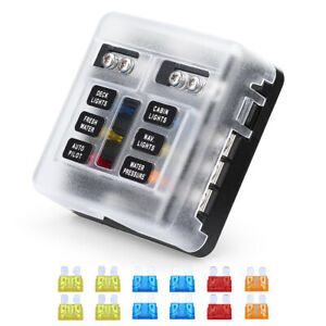 6-Way 32V Blade Fuse Block Independent Negative Bus+Cover 100 Amps Fuse Box Car