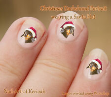 DACHSHUND portrait Christmas Santa Hat  Set of  24 Dog Nail Art Stickers Decals
