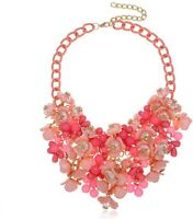 Women Fashion Flower Statement Choker Bubble Bib Collar Chain Necklaces