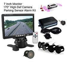 "Car Rear View 4x Parking Radar Sensor Alarm System 7"" Monitor Backup Camera Kit"