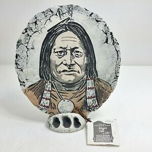 Sitting Bull Sioux American Indian Plaque & Stand Stan Langtwait Shapes of Clay