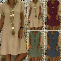 ZANZEA Women V Neck Short Sleeve Long Shirt Dress Plain Sundress Mini Dress Plus