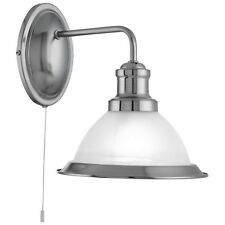 Bistro Satin Silver Wall Light Fitting Acid Glass Shade Interior Home Lights New
