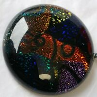 Dichroic Glass Pendant Orange Purple Blue  Round Silver Colored Metal Bale 1.5""